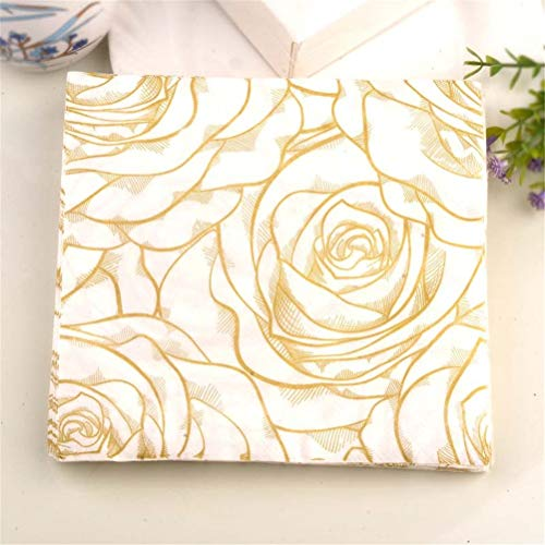 (Disposable Party Tableware - 20pcs Pack Golden Rose Floral Flower Theme Paper Napkins Disposable Party Tableware Festive Tissue - Disposable Party Tableware)