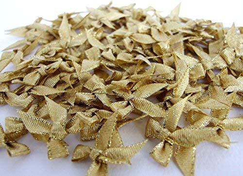 100 Pcs Mini Gold Ribbon Bows Crafts Party Decoration ()