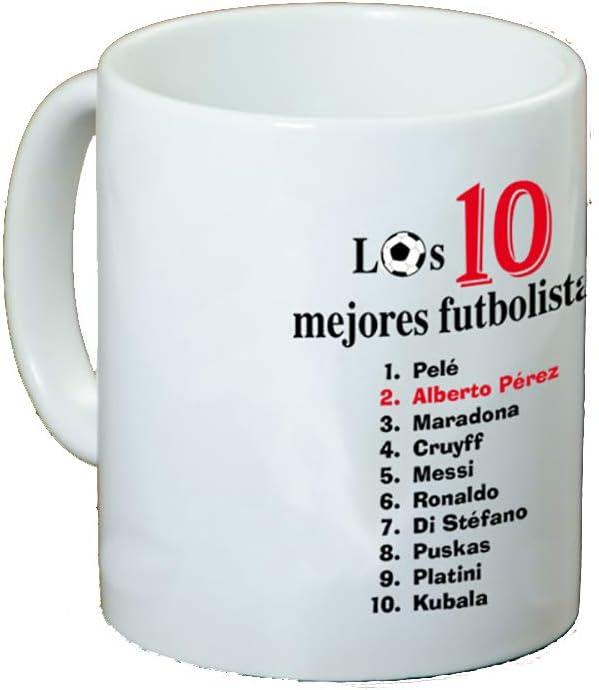 Regalo Personalizado para Amantes del fútbol: Taza 'Top 10 futbolistas' Personalizable con Nombre