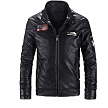 Men's Stand Collar USA Flag Logo PU Faux Leather Biker Bomber Jacket Outerwear