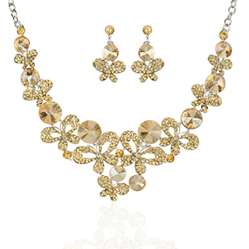 TAGOO Women's Simulated Pearl Silver&Gold Flower Leaf Necklace Earrings Jewelry Set for Wedding/Banquet in Crystal&Rhinestone (Yellow Rhinestone Butterfly Design Necklace Length 18.89
