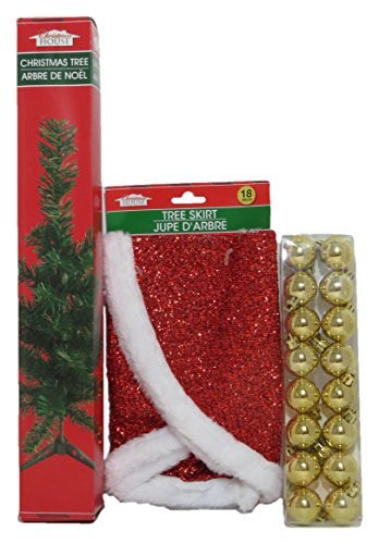 Mini Christmas Tree with Red Tree Skirt and 16 Ornaments Bundle
