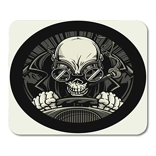 (Boszina Mouse Pads Undead Stock Car Racer of Skeleton Smoking Cigar While Wearing Leather Racing Jacket and Goggles He Grips Mouse Pad for notebooks,Desktop Computers mats 9.5
