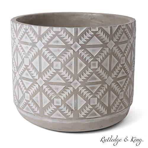 Rutledge & King Concrete Planter - Indoor and Outdoor Plant Pot - Modern Cement Planter - Geometric Planter Flower Pot - Large Planter- (Large/Single/Arroway)