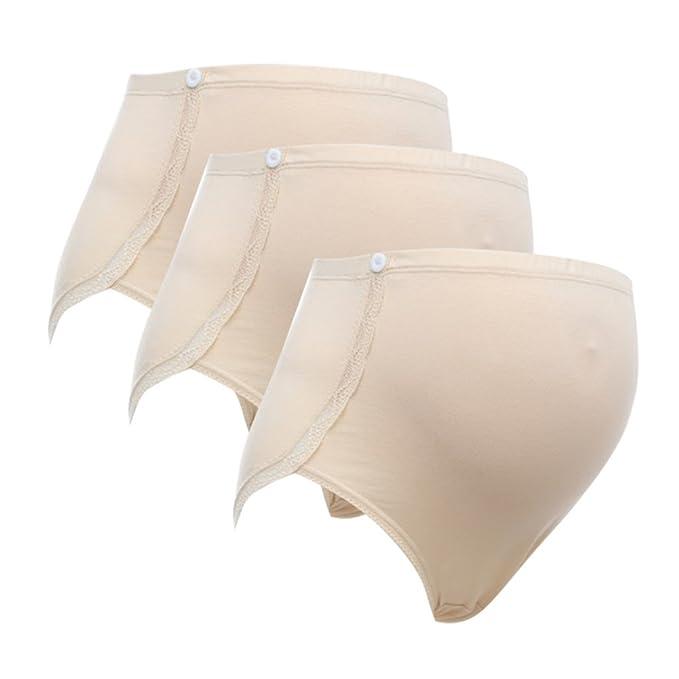 El Embarazo Maternidad Ropa Interior Algodón Encima Bache Bragas Pantalones Cortos Bragas (3 Paquete)