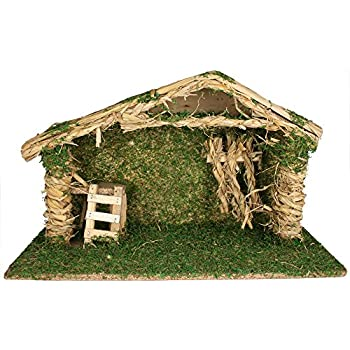 Nativity Crèche With Wood And Moss Accents U2013 9 Inch High Wooden Stable For  Nativity