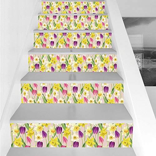 Crown Tulip Stems - Stair Stickers Wall Stickers,6 PCS Self-adhesive,Daffodil Decor,Tulip and Daffodil Flower Stems with Leaves Summertime Vintage Floral Artwork,Purple Yellow Green,Stair Riser Decal for Living Room, Hal