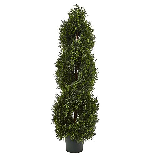 (Nearly Natural 5482 Double Pond Cypress 4'H Spiral Topiary UV Resistant with 1036 Leaves (Indoor/Outdoor))