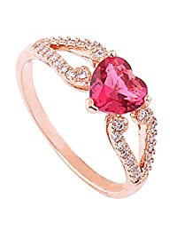 Acefeel Fashion Rose Red Crystal Heart Shaped Micro Pave Zircon Promise Ring Valentine's Day Gift R176