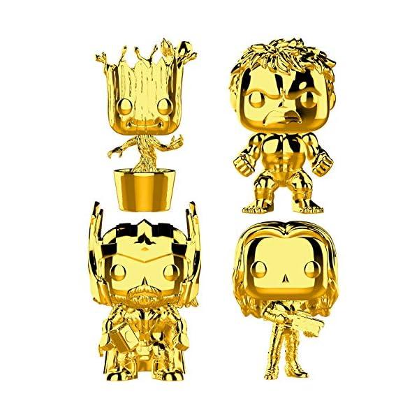 51PBVmzrFJL Funko Marvel: Pop! Marvel Studios 10 Gold Chrome Collectors Set 3 - Groot, Hulk, Thor, Gamora Toy
