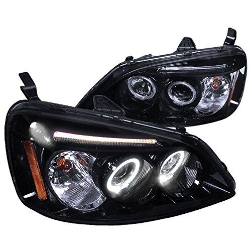 Spec-D Tuning 2LHP-CV01G-TM Honda Civic Dual Halo Led Glossy Black Projector Headlights - Honda Civic Halo Headlights