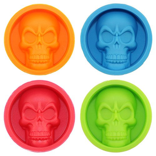 Mujiang Halloween Skeleton Skull Head Silicone Chocolate Candy Muffin Molds (Set of 4), 4 Colors