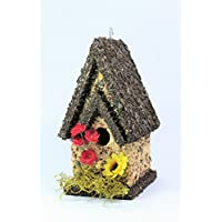 Handmade Edible Birdhouse- TALL DARK- Unique Reseedable Bird Feeder Wooden Birdhouse Covered w/ Birdseed- Made in the USA