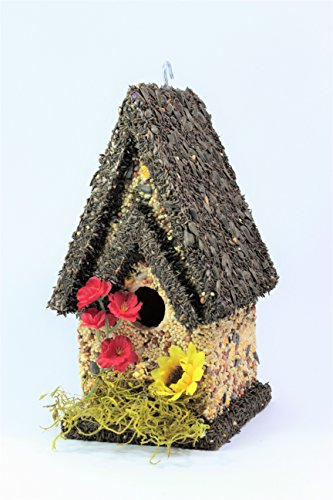 Edible Birdhouse Handmade Tall Dark- Unique Reseedable Bird Feeder Wooden Birdhouse Covered w/Birdseed- Made in The ()