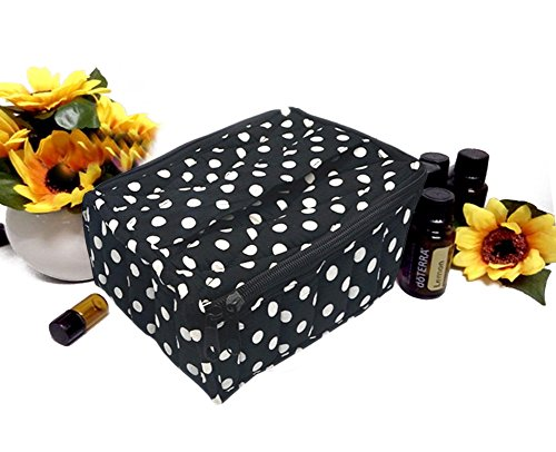 Price comparison product image FLYMEI 30-Bottle Essential Oil Carrying Case for 5ml,10ml,15ml with Handle - Perfect Essential Oils Storage Bag for Traveling - Holds Young Living & Doterra Containers - Black&White