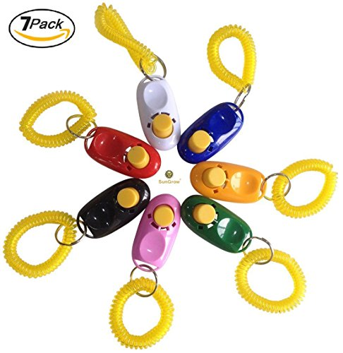 Colorful & Practical SunGrow Set of 7 Dog Clickers with wrist straps & big buttons : Simple, Convenient & Effective Training Tools for Your Dog or Puppy : Just the Right Size & Sound
