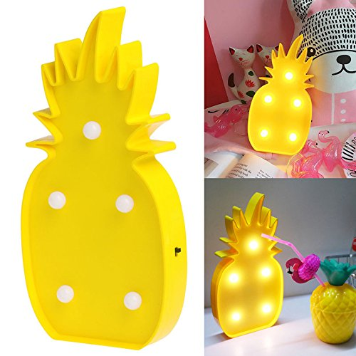 Flamingo Goblet Set (Heartyhug Tropical Yellow Pineapple Cute LED Night Light Table Desk Lamp Bedroon Living room Home Decor Gift)
