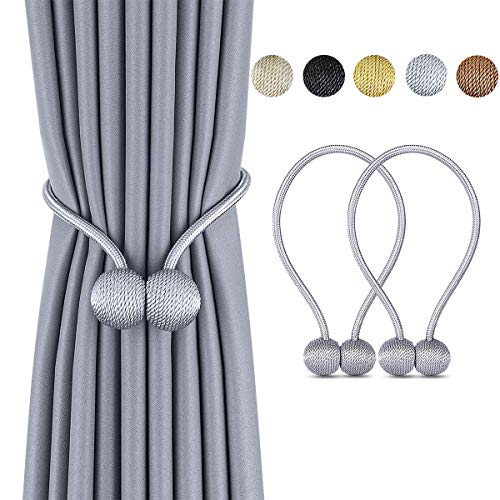 Deluxe Magnetic Curtain Tiebacks with Unique Wooden Balls, 2 Pack Decorative Drapery Holdbacks Rope Holder for Home Kitchen Office Window Sheer Blackout Drapes, Silver Gray