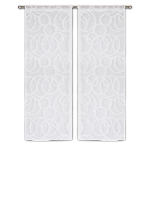 Paire Voilages Vitrages 60 x 160 cm Passe Tringle Style Scandinave Motif Contemporain Ronds Brodés Blanc RideauDiscount