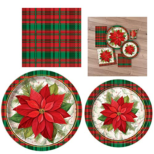 Unique Poinsettia Plaid Party Bundle | Beverage Napkins, Dinner & Dessert Plates | Great for Christmas Parties, Holiday Celebrations, and Themed Gatherings