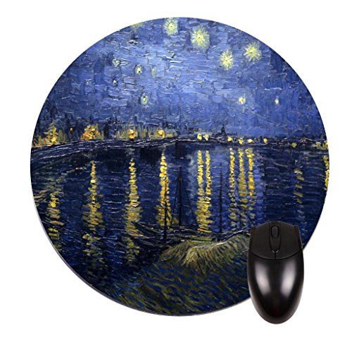 (Vincent Van Gogh's Starry Night Over the Rhone -Vincent Willem Van Gogh/Post-Impressionist/Post-Impressionism/Dutch/Netherlands/France/French/Painter-Round Mouse pad - Stylish, durable office accessory and gift)