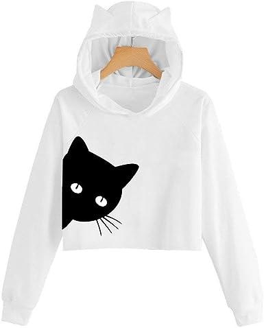 Sudaderas Mujer BaZaHei Top de suéter Corto con Capucha y Manga Larga de Gato Sudadera con Estampado de Gato Sudadera con Capucha Tops Camisa Impresión de Gato Moda Lindo Blusa para Mujer:
