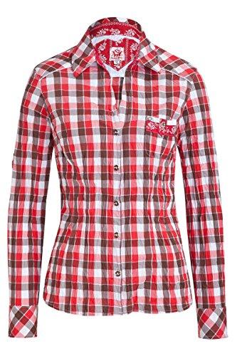 Spieth & Wensky Damen Trachten Bluse in Crash Optik Aue 4081 rot-braun