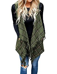 Cardigans for Women Vest Kimonos Hooded Plaid Sleeveless Fringe Drape Shawl Coat Jacket
