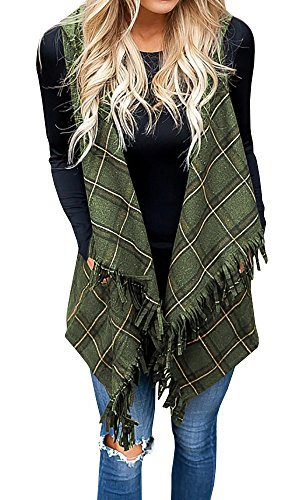 Vest for Women Cardigans Kimonos Plaid Hoodie Green Fall Winter Open Front Drape Coat Shawl (Cotton Plaid Vest)