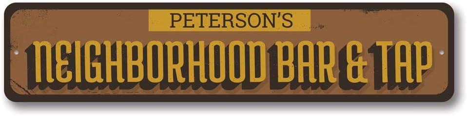 Neighborhood Bar & Tap Sign, Beer Sign, Custom Family Name Sign, Home Bar Decor, Bar Aluminum Sign - 4