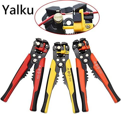 Multifunctional automatic wire stripper Crimper Cable Cutter 3 in 1 Electrician tools Hand Tool Automatic stripping pliers (Color : Dark blue) Yellow