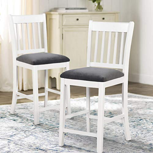 ArgoHome Pub Bar Stools Set of 2 - Lint Paded Bistro Dining Kitchen Wood Counter Height Stools Barstools Chairs (Seat Height: 25