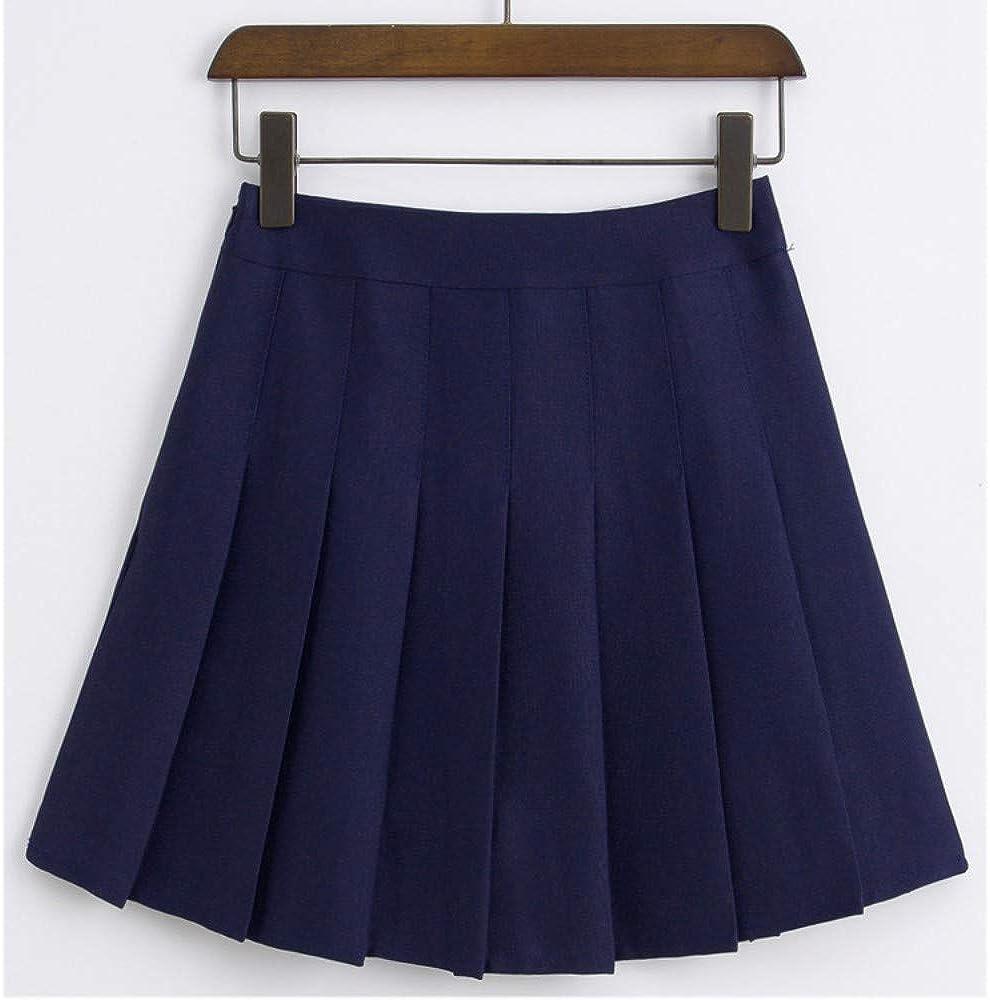 HEHEAB Falda,Navy Blue Primavera Y Verano Mujeres Coreanas De Cintura Alta Falda Plisada Mini Tenis Niñas Falda Falda Falda Corta La Escuela Cuero Cosplay