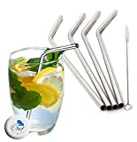 Stainless Steel Straws Set of 4, Free Cleaning Brush Included Strongest Metal Reusable Eco Friendly Drinking Straws by Chuzy Chef®