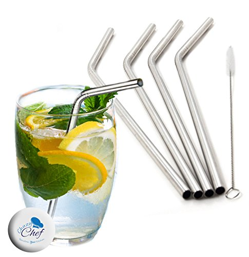 Stainless Steal Metal Reusable Straws - Set of 4 Stainless Steal Tumbler Straws Drinking Reusable Straw Eco...