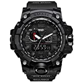 Men's Military Waterproof Digital-Analog Display Sport Watches Multifunctional Wrist Watches for Men (Black)