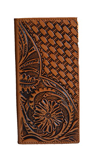 men genuine leather floral woven western tall long bifold brown tan black (Black Basket Woven Leather)