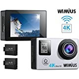 WiMiUS Action Camera 4K 16MP Dual Screen 131 Feet Underwater Camcorders WiFi Bicycle Helmet Cameras 2 Pcs Rechargeable Batteries Waterproof Case Kit Accessoriess, Silver