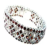Genuine Garnet Sterling Silver Bracelet For Women Bangle Style January Birthstone Box Clasp L 6.5-8 Inch