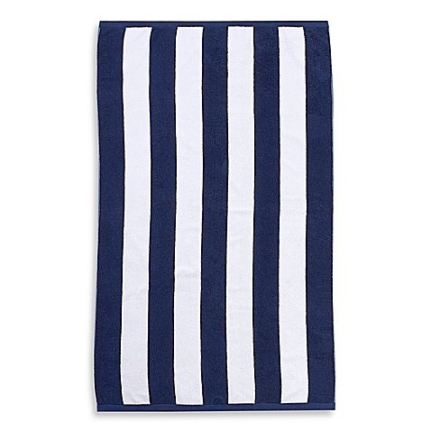 Wamsutta Heavyweight Resort Stripe Beach Towel in Navy / Measures 70