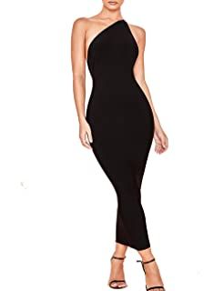 Whoinshop Women s One Shoulder Bandage Evening Knee Length Cocktail Party  Dress cc378060c