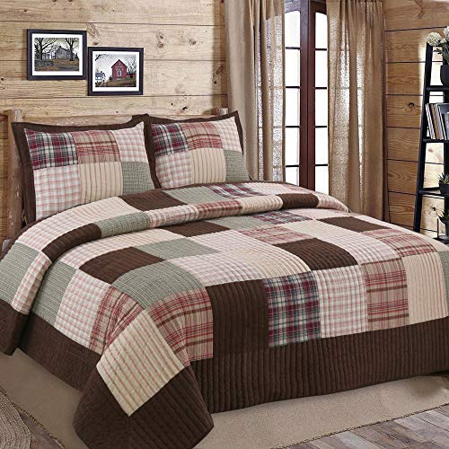 Cozy Line Home Fashions Brody Quilt Bedding Set, Chocolate Brown Plaid Grid Striped Real Patchwork,Reversible Coverlet, Bedspread Set for Men (Brown Grid, Queen - 3 - Mens Climate Grid