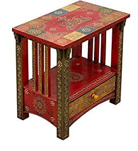 Theshopy Wooden Hand Painted Side Table with 1 Drawer #A523A