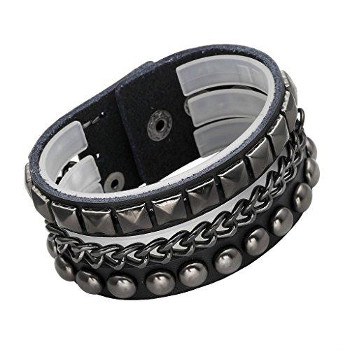 JOVIVI Wide Genuine Leather Spike Studded Rivet Biker Skull Bangle Cuff Bracelet,Punk Rock,Black