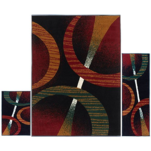 Home Dynamix Ariana Three-Piece Rug Set HD5194-450, Black | Complete The Look in Any Room | Area Rug, Runner, One Scatter Mat | Easy to Clean and Care for | Fade and Stain Resistant
