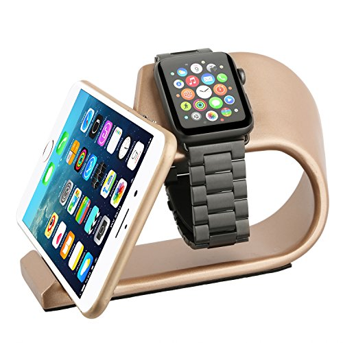 th iPhone Dock, ERWUBALA Aluminum Alloy iPhone Charging Dock, iWatch Stand- 2 in 1 Desktop Station, Smart Watch Charging Station Holder for apple watch and iphones. (Gold) (Satin Gold Angle)