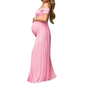 domybest Sexy embarazadas vestido para mujer largo, maternidad apagado los hombros vestido de gasa faldas
