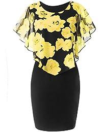 9305718322432 for Women Plus Size Casual Rose Print Chiffon O-Neck Ruffles Mini