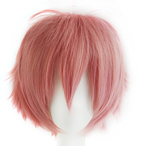 Alacos Short Pink Spiky Layered Anime Cosplay Costumes Wig for Sayori+Cap ()