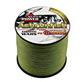 Cheap Ashconfish Braided Fishing Line-8 Strands Super Strong Fishing Wire 500M/546Yards 200LB-Abrasion Resistant Braided Lines-Incredible Superline-Zero Stretch-Superfine Diameter-Army Green